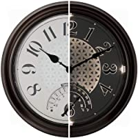 PresenTime & Co 14″ Indoor/Outdoor Luminous Wall Clock with Thermometer, Quartz Movement- Oil Rubbed Bronze Finish, Bright Warm Light Farmhouse Series