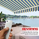 ADVANING Electric Luxury L Series, 12'x10', Semi-Cassette Top Quality Window/Door Cloth Cover Canopy Sun Shade Retractable Patio Awning, Ocean Blue with Sand Beige Stripes, Model: EA1210-A447H2