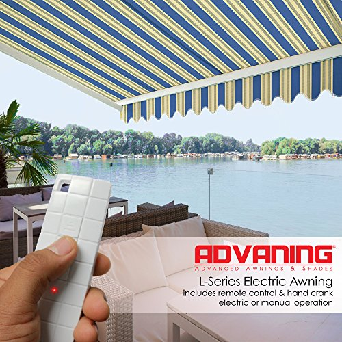 ADVANING 12'x10' Motorized Patio Retractable Awning | Luxury Series | Premium Quality, 100% Solution-Dyed European Acrylic UV Sun Shade, Color: Ocean Blue Stripes, ()