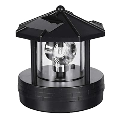 LED Solar Powered Lighthouse, 360 Degree Rotating Lamp Waterproof Statue Rotating Lights for Garden Yard Outdoor Decor