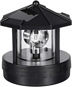 LED Solar Powered Lighthouse,360 Degree Rotating Lamp Waterproof Statue Rotating Lights for Garden Yard Outdoor Decor
