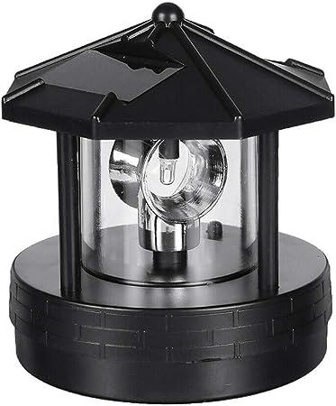 Solar Powered Lighthouse LED Rotating Light Outdoor Garden Lighting Lamp Decor