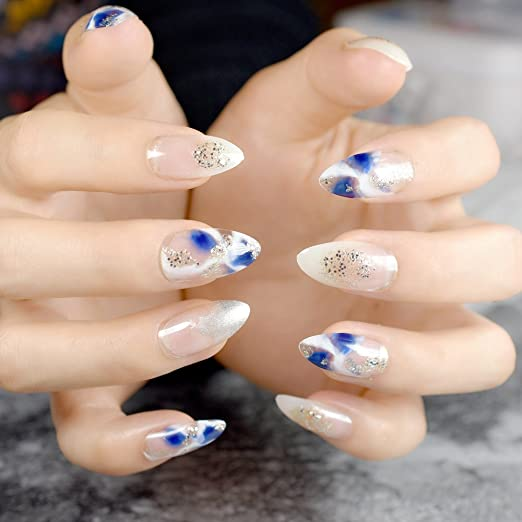 Amazon.com : CoolNail Blue White Clear French False Stiletto Nails Water Painting Blooming Glitter Pointed Full Fake Nails Sharp End Wear Nail Tips : Beauty