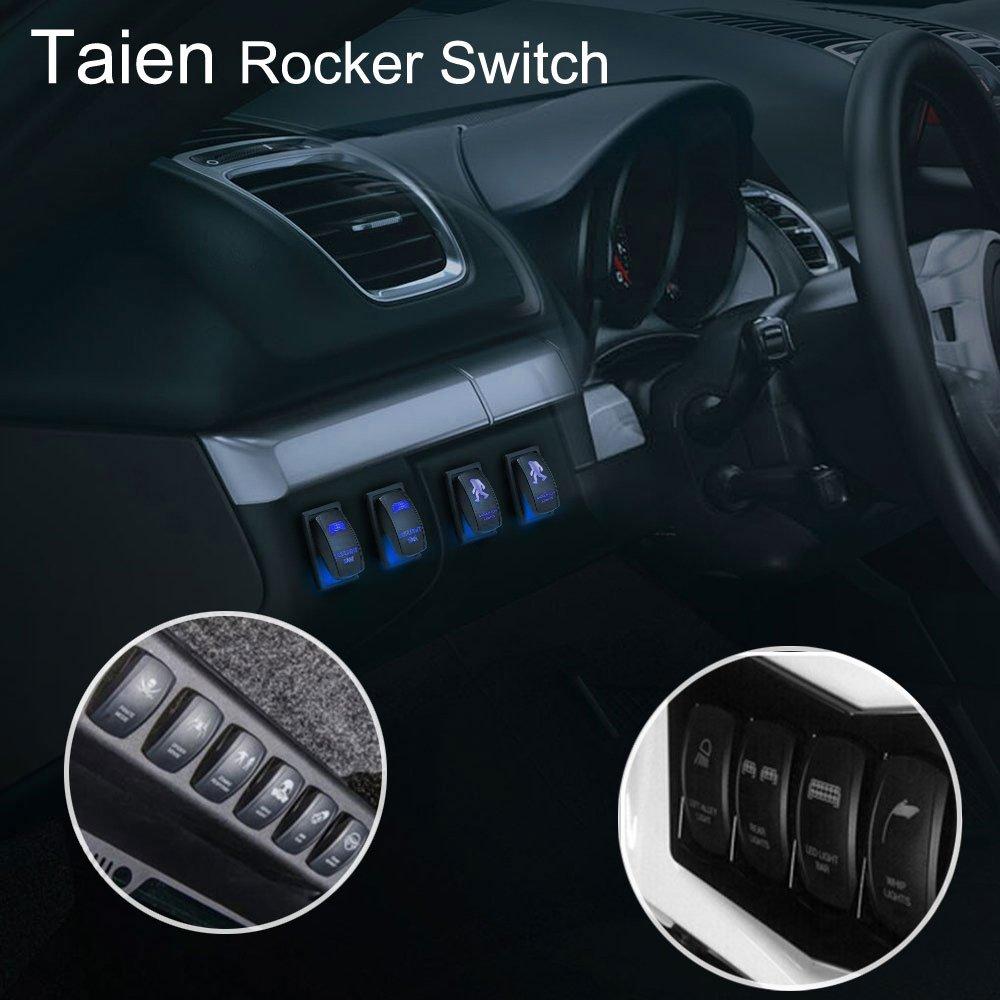 1X 12V 20A 5 PINS ON-OFF Rocker Toggle Switch Laser Blue LED for Car-SPOT LIGHTS