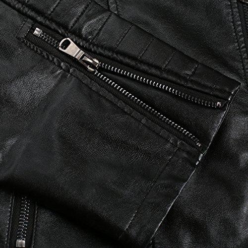 Chaqueta para Coofandy Negro Hombre con Cremallera de de Cierre Negro Cuero Color HqddBaw