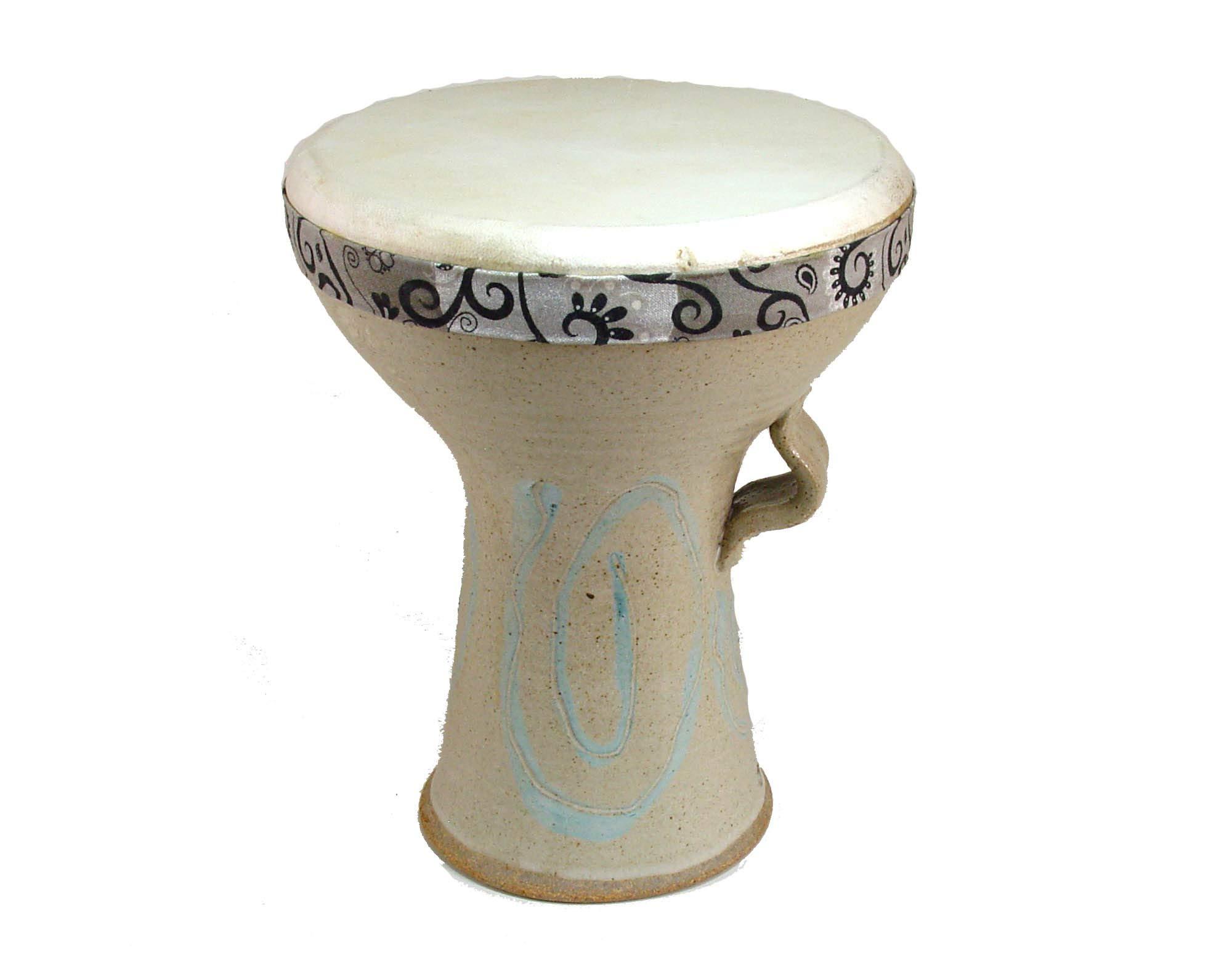 Stoneware Doumbek Darbuka Hand Drum, Spiral Design Goat Skin Head