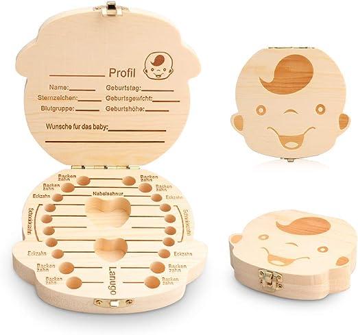 JUNSHUO Caja de Dientes Leche, Madera Diente Organizador Almacenamiento de la Caja, Personalizar Personalizada Regalo para Niños en Madera de Souvenir para Bebé Niños y Niñas (Niño): Amazon.es: Bebé