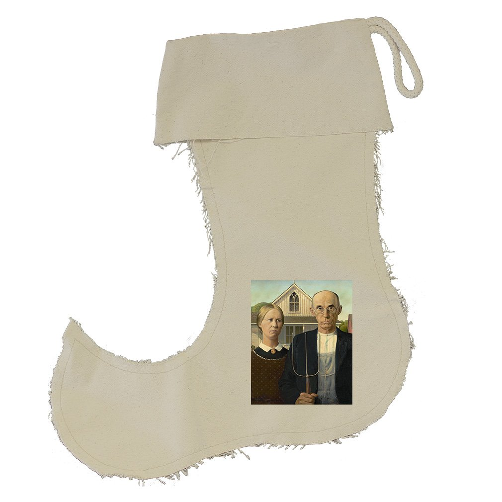 American Gothic (Grant Wood) Cotton Canvas Stocking Jester - Large