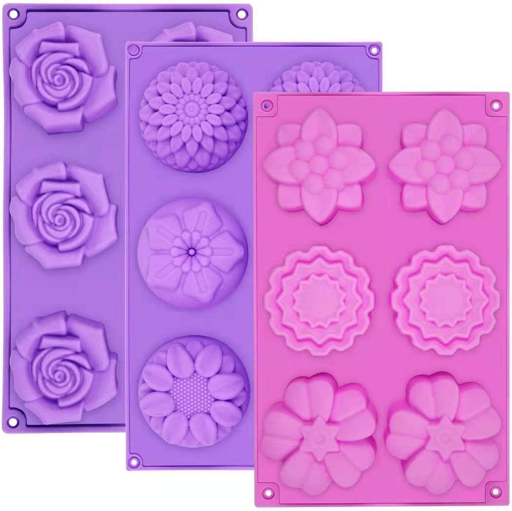 AIDOIT 3 PCS 6 Cavity Assorted Silicone Flower Soap Mold DIY Soap Molds for Handmade Chocolate Biscuit Cake Muffin Silicone Soap Molds