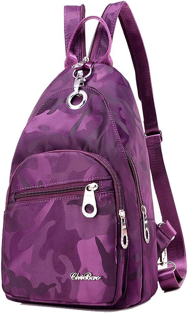 KARRESLY Women Outdoor Casual Nylon Unbalance Backpack Crossbody Sling Bag Shoulder Bag Chest Bag