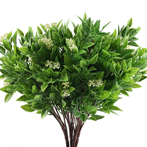 HUAESIN UV Resistant Artificial Flowers for Outdoors Plastic Fake Flowers Greenery Shrubs Bushes plants for Indoor Pot Vase Garden Decor Yellow and Green 4pcs by HUAESIN