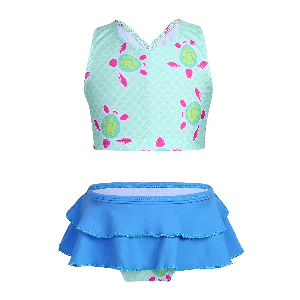 iiniim Big Girls Two Piece Spaghetti Swimwear Swimsuit Tankini Sets Kids Floral Bathing Suit