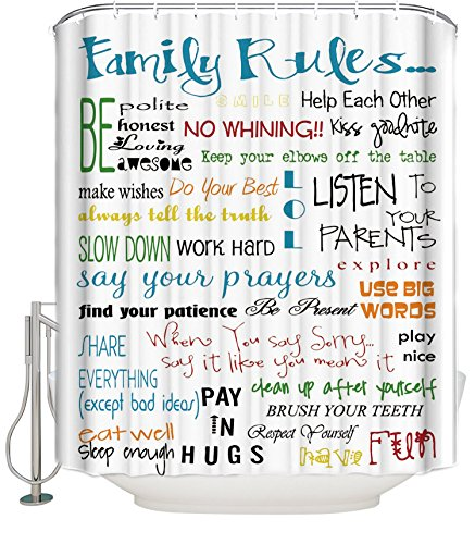 Family Rules Educational Waterproof Fabric Polyester Bathroom Shower Curtain with 12 Hooks 60(w) x 72(h) by CHARMHOME