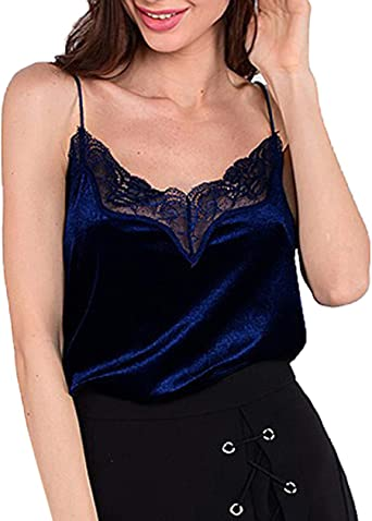 OUFour Verano Mujeres Camiseta de Tirantes Sexy Backless Tank Tops Camisa Terciopelo Encaje Costura Vest Camisolas Blusa: Amazon.es: Ropa y accesorios