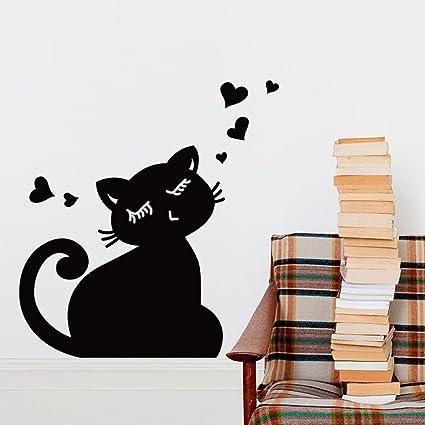Gato negro forma de corazón pizarra pizarra pared adhesivo ...