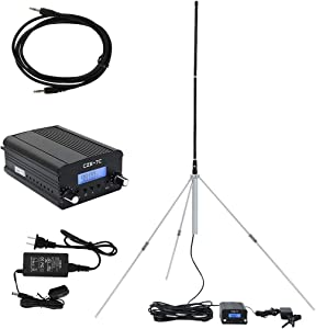 Wireless Radio Stereo FM PLL Transmitter, 76-108MHZ LCD TNC Antenna 1W/7W, 3.5mm Headphone Connector (Multicolour)