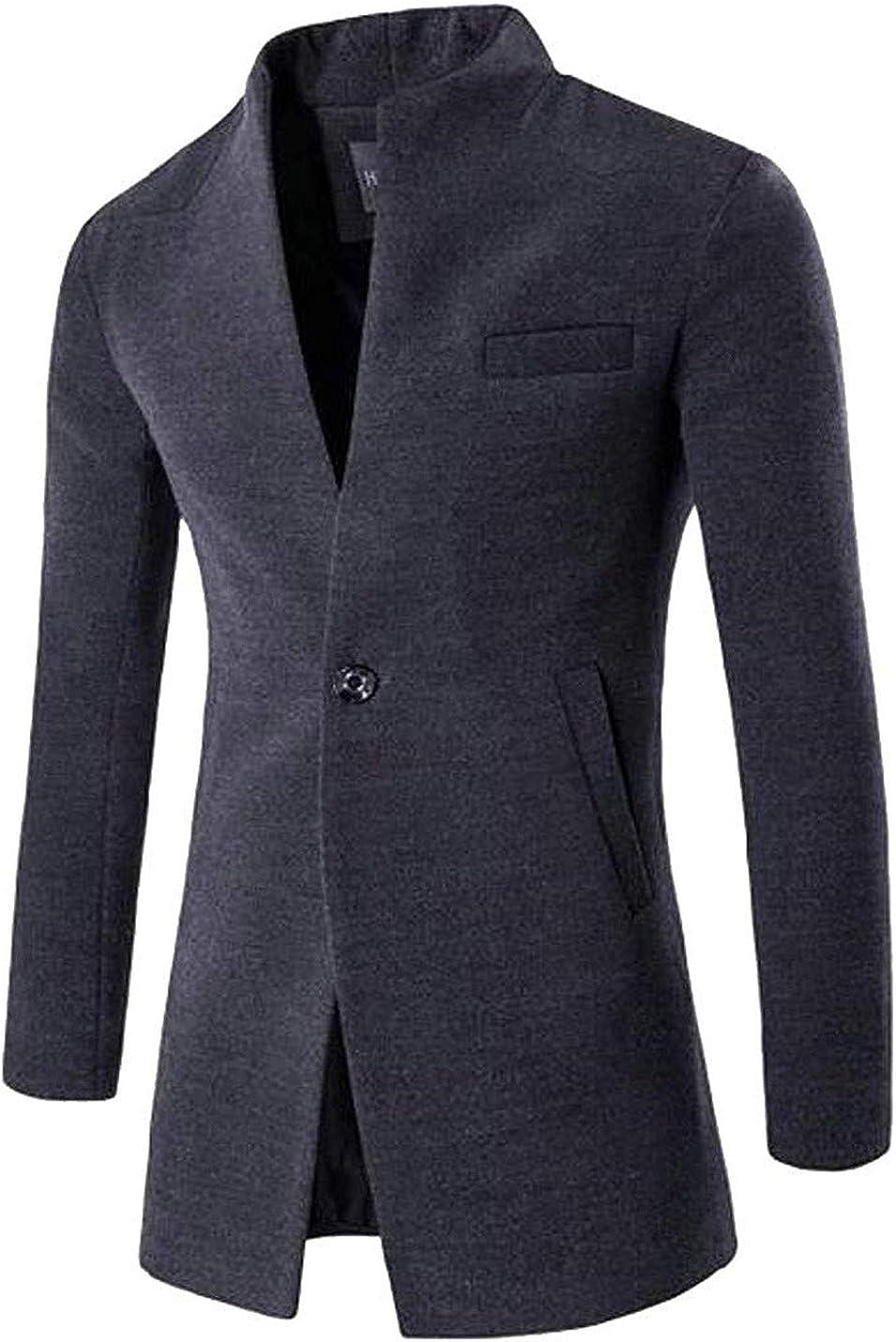 Mens Single Breasted Vogue Wool Blend Slim Fit Overcoat Trenchcoat Pea Coat