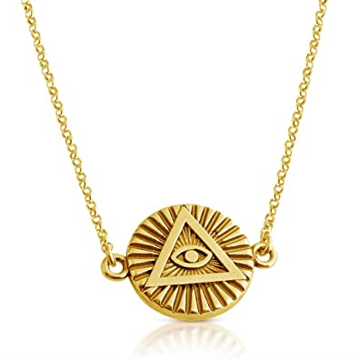 Amazon illuminati all seeing eye of providence sideways pendant illuminati all seeing eye of providence sideways pendant necklace 14k gold plating over 925 sterling silver mozeypictures Images