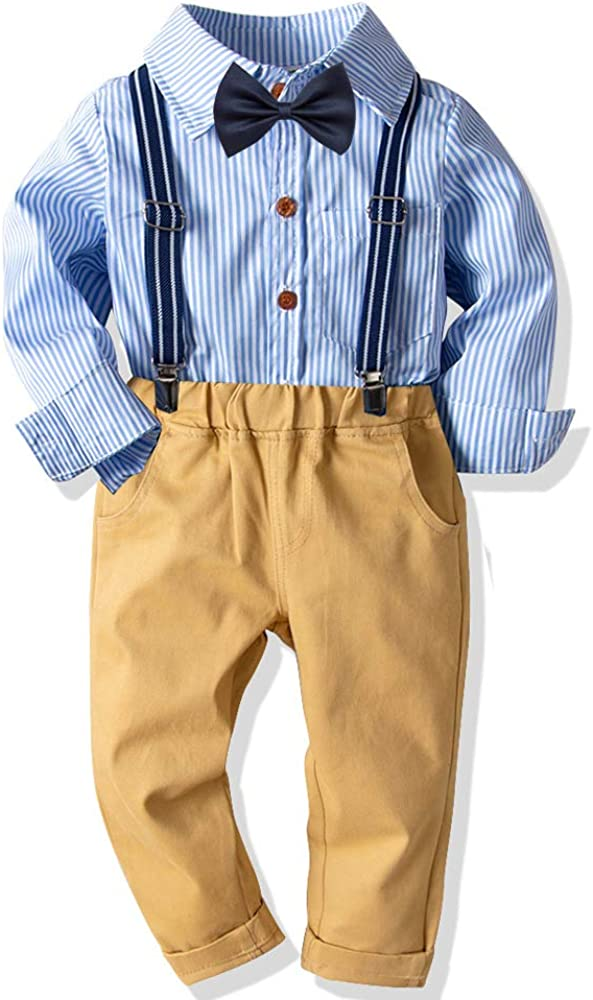 Baby Boys Long Sleeve Gentleman Outfit Suits Set,Navy Shirt with Pocket Square+Blue Pant+Suspenders
