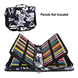 YOUSHARES 160 Slots Colored Pencil Case - Colorful Oxford Fabric Large Capacity Pen/Pencil Organizer with Strap for Watercolor Pencils, pens and Make up Brush (Mulberry White)