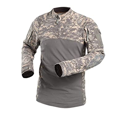 403d6914b6b7 NiuZi Men's Military Tactical Shirt Cotton Slim Fit Zip Assault Camouflage  Shirts Outdoor Army Combat Shirt. Roll over image to ...