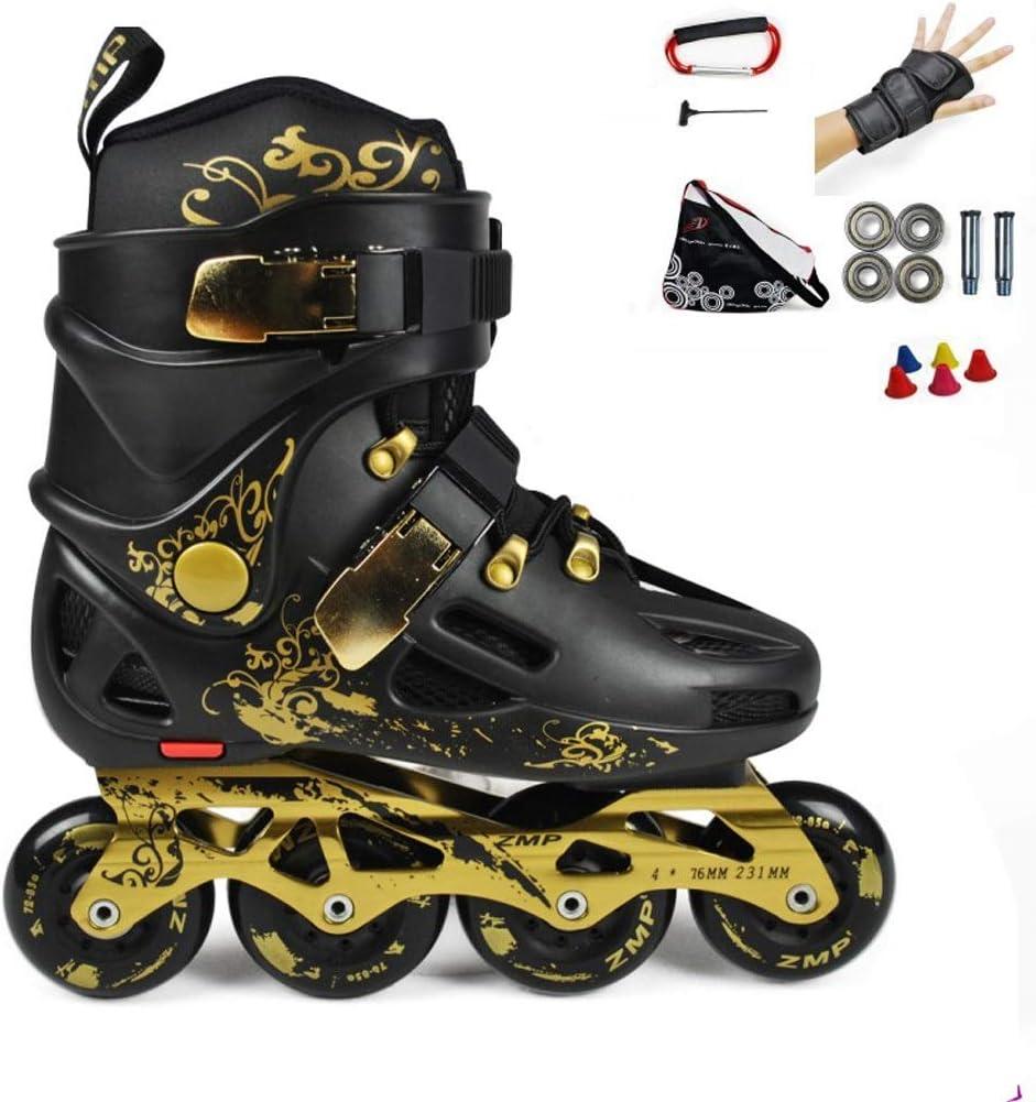 GJF 初心者プロのインラインスケート靴、成人用/男性用/女性用単列クォードローラースケート靴、学生用青年用耐久性ホワイトローラースケート靴(黒) (Color : 黒, Size : EU 41/US 8/UK 7/JP 25.5cm) 黒 EU 41/US 8/UK 7/JP 25.5cm