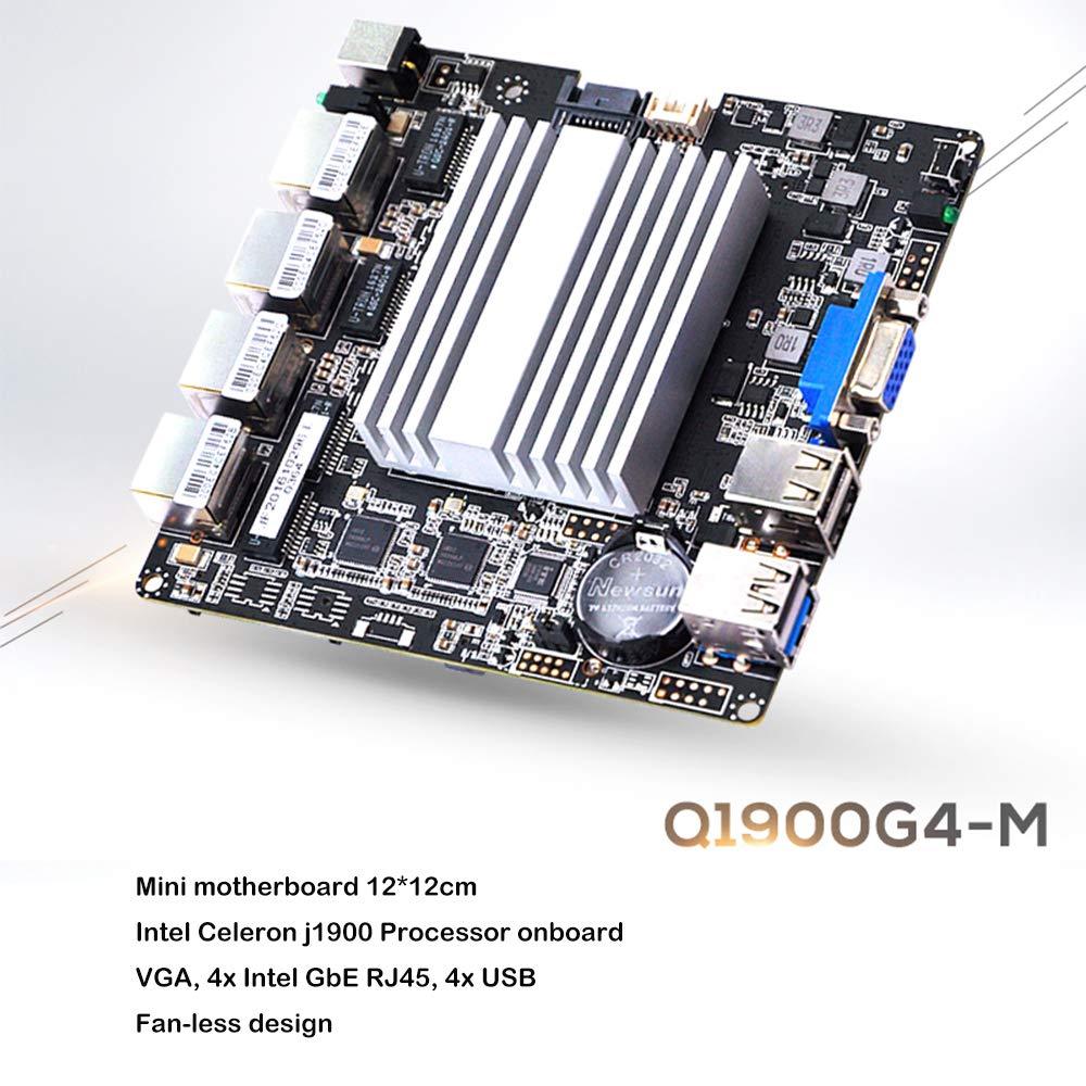 QOTOM Mini PC with 8GB RAM 64GB SSD, 4 Intel LAN Port, VGA, 4 USB Port,  celeron j1900 Processor Quad core 2 GHz, Fanless Mini PC pfSense