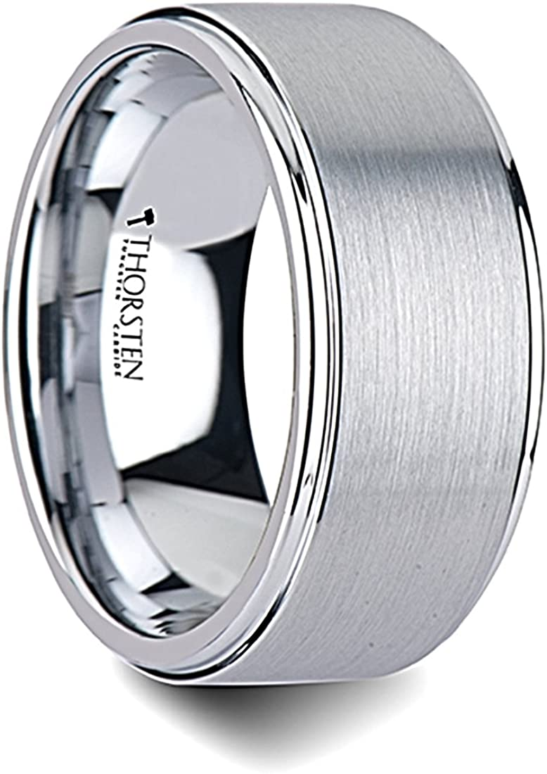 Thorsten Optimus Brush Finish Raised Center Polished Edge Tungsten Ring 10mm Wide Wedding Band from Roy Rose Jewelry