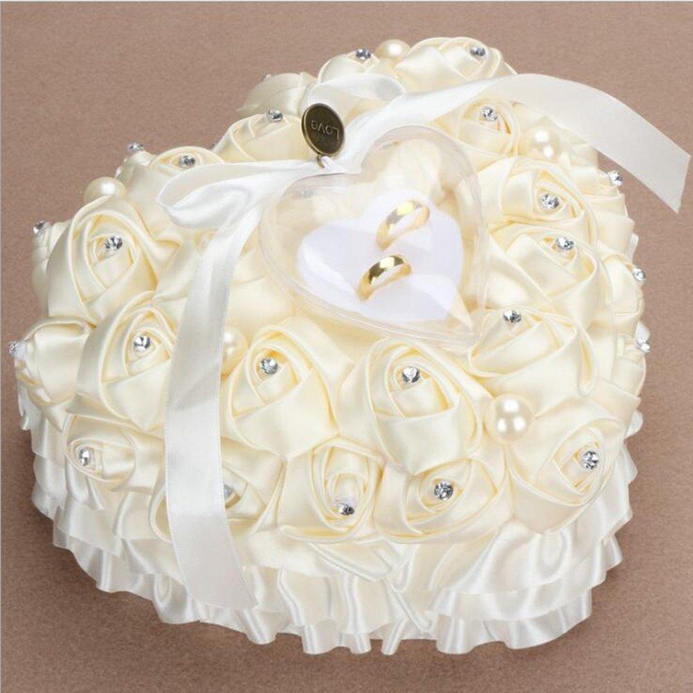 bpblgf Coeur Romantique en Forme de Coussin de Rose Alliance Boîte de Bague de Mousse Satin Lace 1, White, 24 * 22cm