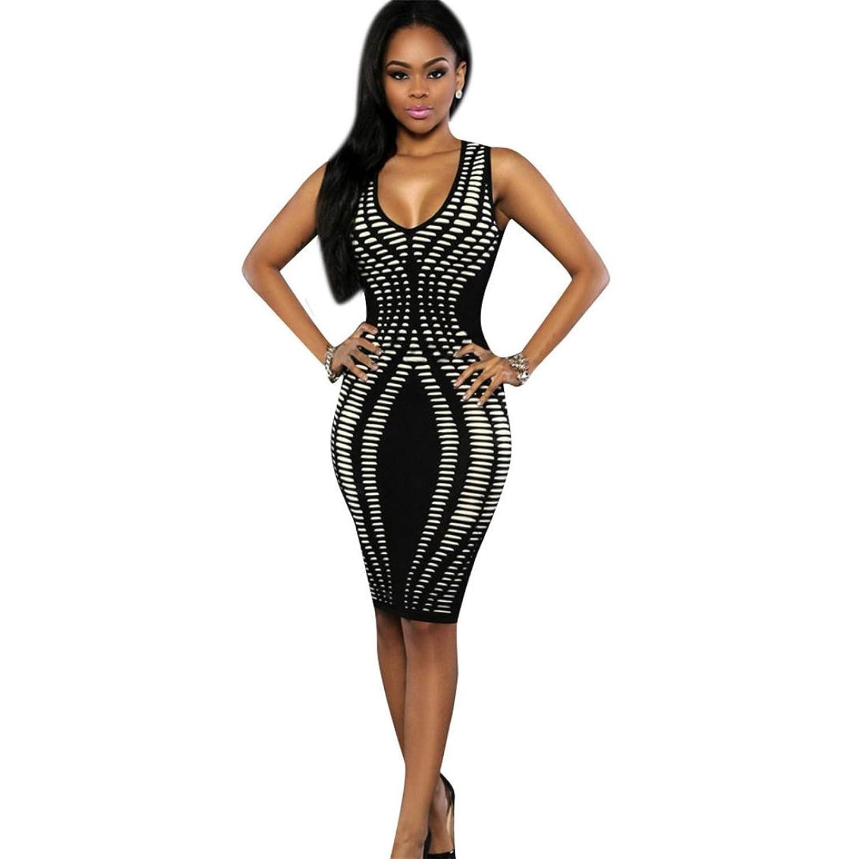 Fineshow Women Casual Sleeveless V Neck Printed Slim Mini Party Clubewear Bodycon Dress