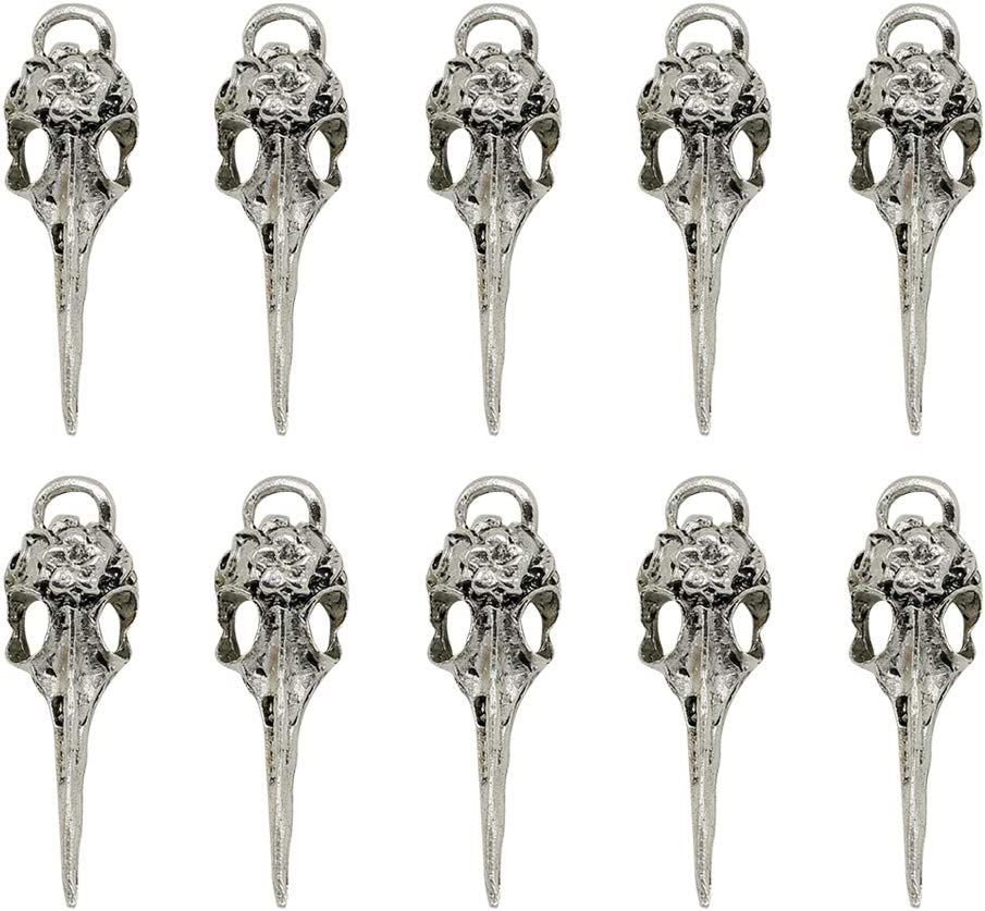 FENICAL Antique Silver Tibetan Charms Raven Bird Skull Head Charms Pendants DIY Jewelry Making Accessory for Necklace Bracelet 30pcs