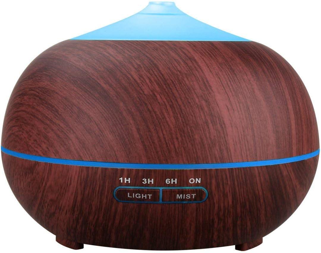 Tenswall Diffuseur humidificateur /à ultrasons pour huiles essentielles en bois /à LED 7/couleurs diff/érentes Marron 400/ml