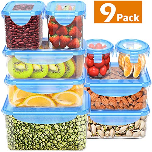 (Food Storage Containers with Lids, MOKALOO Plastic Meal Prep Containers with Airtight Leak Proof Lids, BPA-Free Reusable Bento Lunch Box, Food Prep Containers for Kitchen Use [9-Pack])