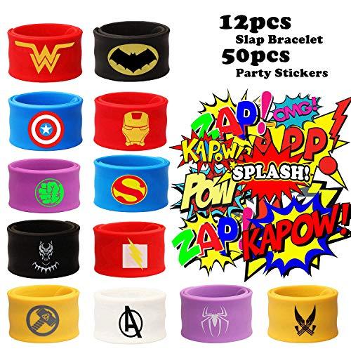 12PCS Superhero Slap Bracelet for Kids Boys & Girls - Marvel The Avengers Birthday Party Supplies Favors - Super Hero Avengers Toys - Comic Super Hero Party Stickers (50 Pack) Carnival Prizes