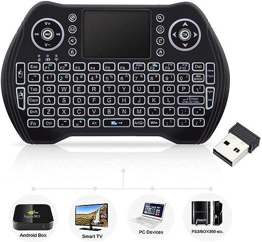 Mini Teclado inalámbrico con ratón táctil, Teclado inalámbrico para Smart TV, Teclado Remoto Multimedia para Android TV Box, portátil, Xbox 360, PC, PS3-RGB retroiluminado: Amazon.es: Electrónica