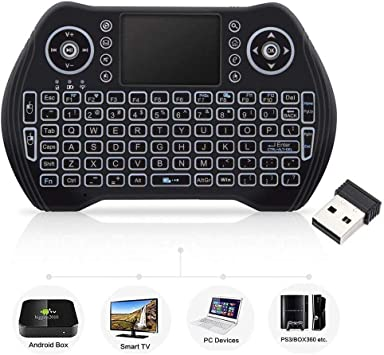 Mini Teclado inalámbrico con ratón táctil, Teclado inalámbrico para Smart TV, Teclado Remoto Multimedia para Android TV Box, portátil, Xbox 360, PC, PS3-RGB retroiluminado: Amazon.es: Electrónica