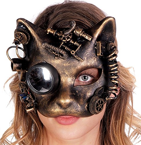 Cat Face Steampunk Gear Half Mask Halloween Costume Party Goggles (GOLD) (Goth Halloween Costumes For Kids)