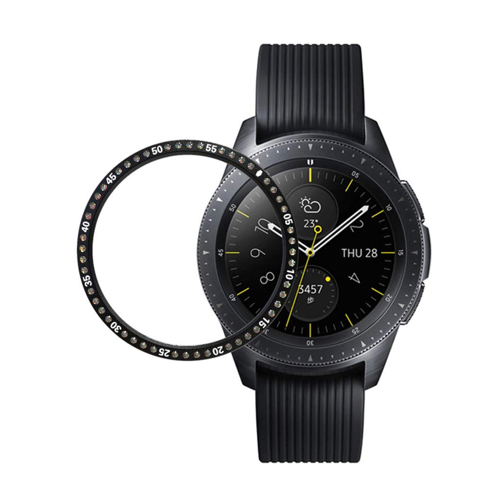 for Samsung Galaxy Watch 42MM, Crystal Diamond Stainless Steel Bezel Ring Adhesive Cover Anti Scratch Metal Bezel Styling (Black)