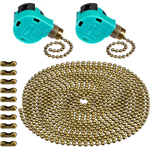 Jetec 2 Pack Ceiling Fan Switch 3 Speed ZE-268S6 and 10 Feet Beaded Pull Chain Extension with 10 Connectors for Ceiling Fans Lamps and Wall Lights (Brass Pull Chain) Ceiling Light Pull Switch