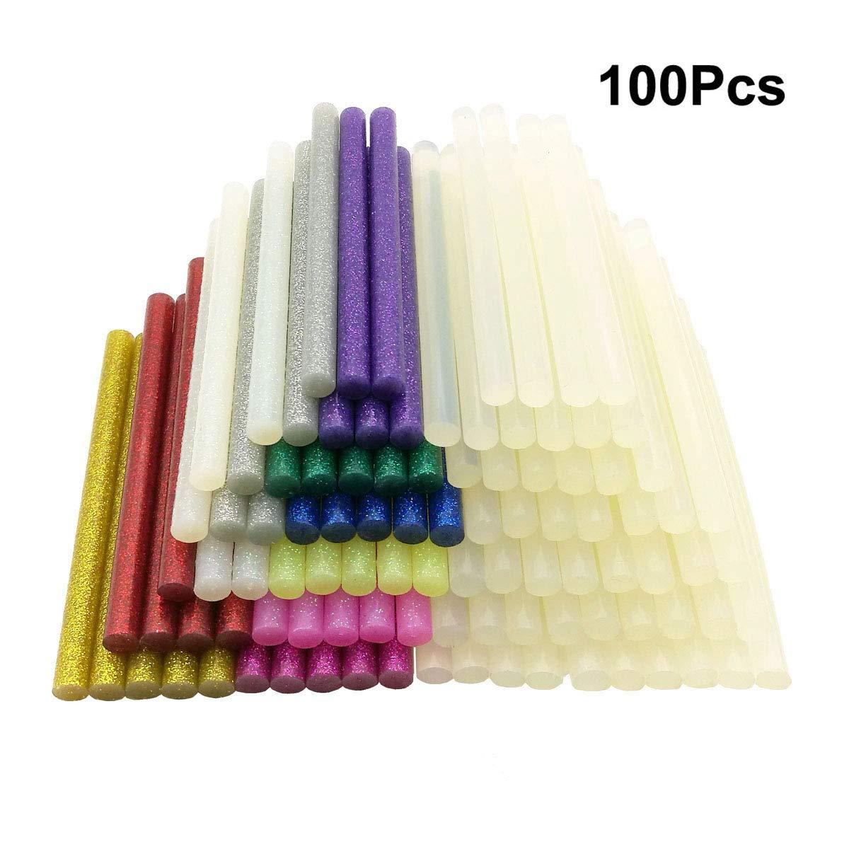 100pcs Hot Glue Sticks 7mm x 100mm for 20W Hot Melt Glue Gun, Ustation 50Pcs Ultra Clear and 50Pcs Glitter Hot Melt Glue Adhesive Sticks for DIY Art Craft, 11 Colors (7mm x 100mm)