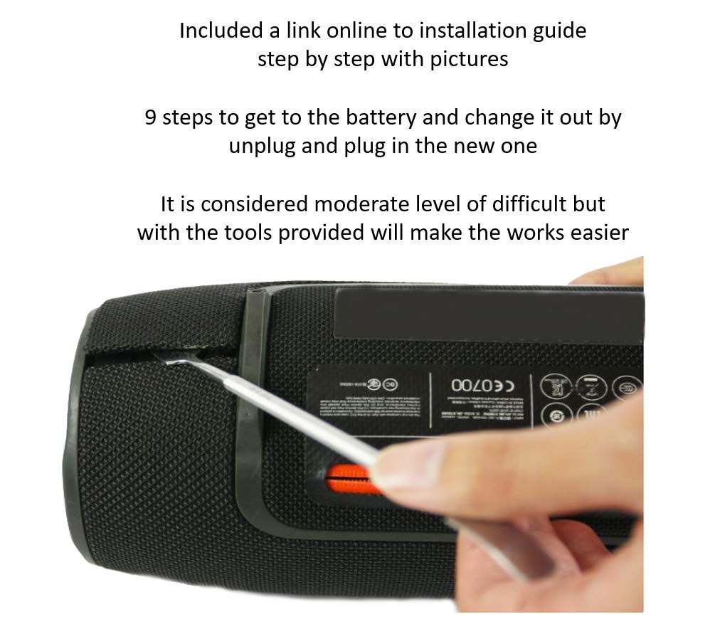 High Capacity Replacement Battery + Tool + Guide (Link) for JBL Xtreme Extreme Portable Bluetooth Speaker 5000mAh Li-Polymer JBL GSP0931134 Repair Power by WirelessFinest (Image #4)