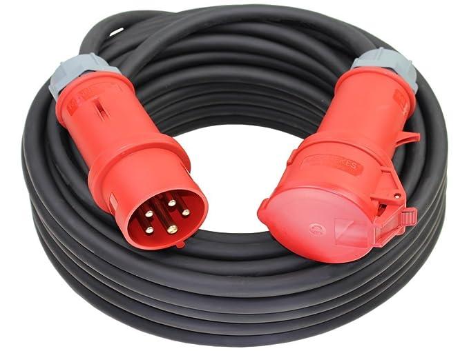 CEE  32A 5x4 mm² Anschlusskabel mit Phasenwender ; 15 Meter Starkstromkabel