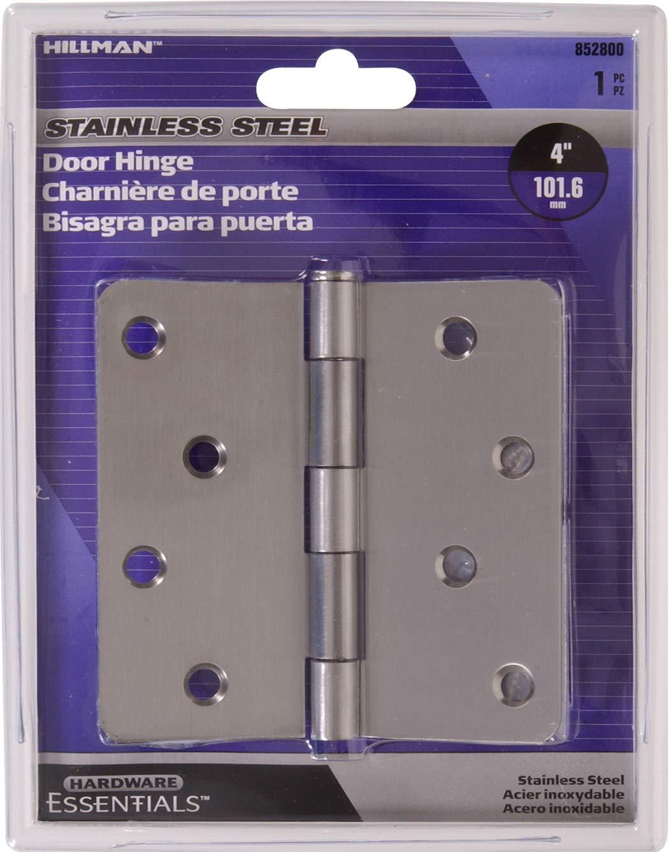 Hardware Essentials Round Corner 1//4 Full Mortise Door Hinge Stainless Steel 4