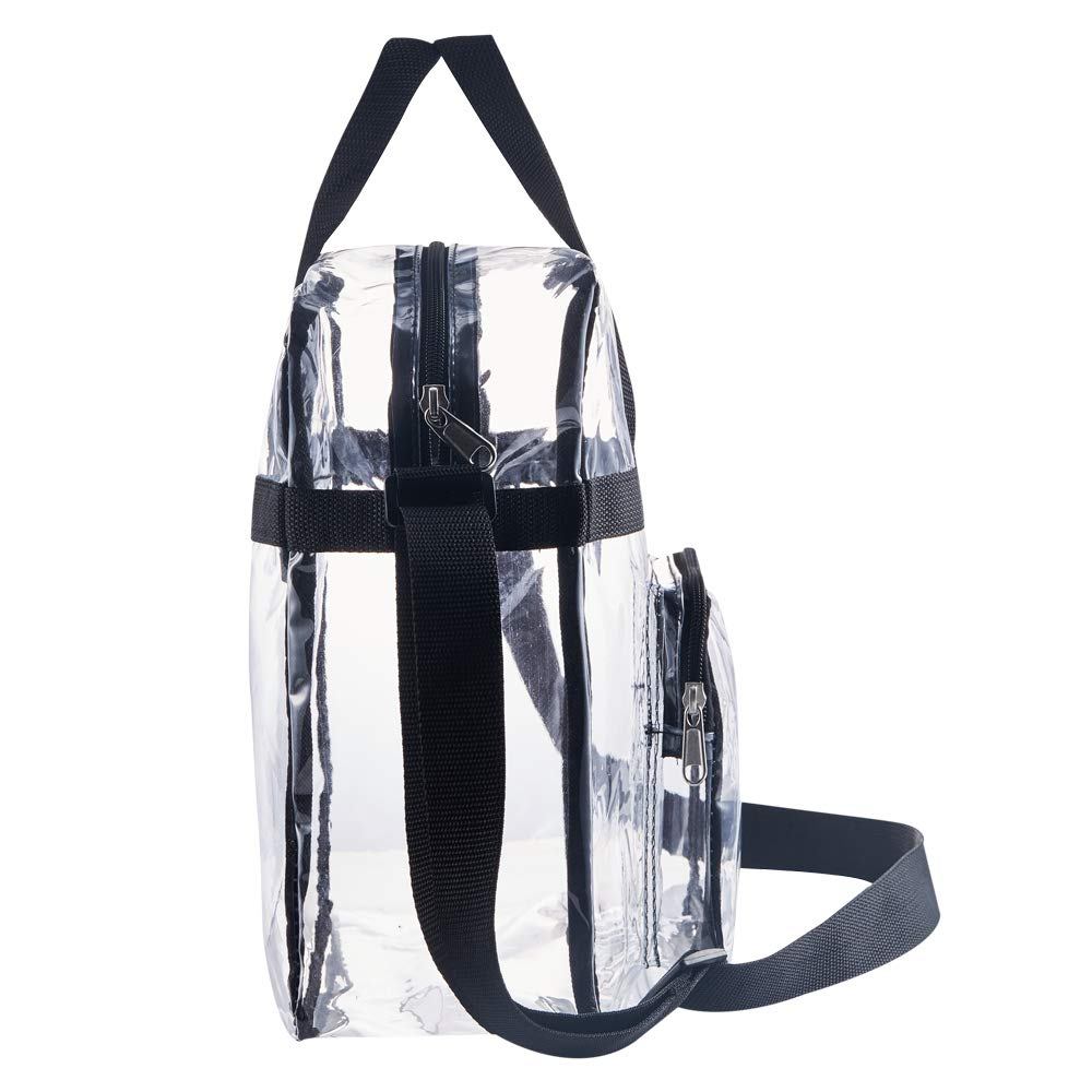 Perfect for Work Sports Games and Concerts-12 x12 x6(Black) Greenpine Clear Tote Bag Stadium Approved,Adjustable Shoulder Strap and Zippered Top,Stadium Security Travel /& Gym Clear Bag
