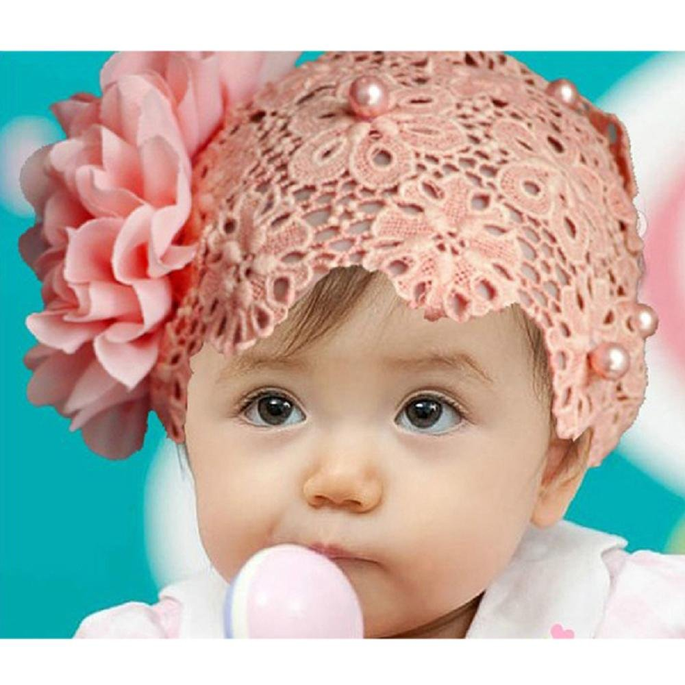 Doinshop Colorful Baby Kids Lace Flower Headband Hair Bow Band Accessories Headwear (pink)