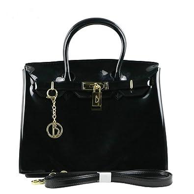 Harlan Grace Women s Handbag Platinum Package Solid Color Glossy Jelly 30CM Birkin  Bag (Black) 412cc9b03