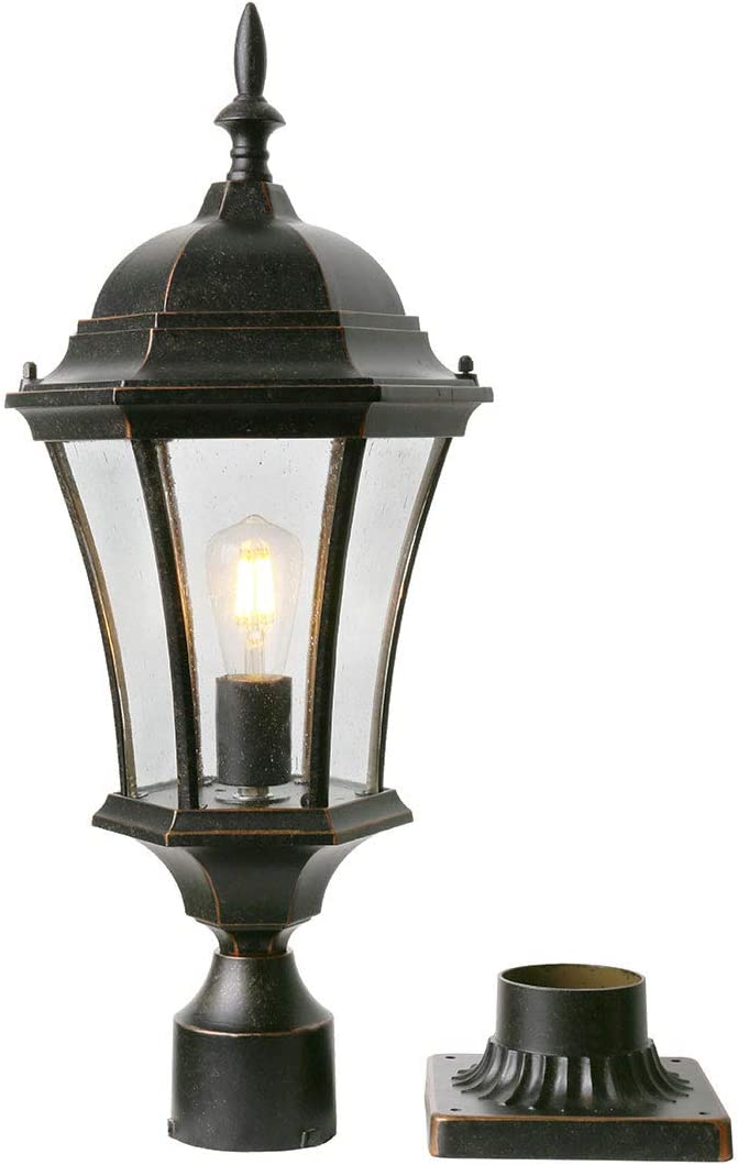"""Goalplus Outdoor Post Light Fixture with Pier Mount for Yard 24 1/2"""" High Post Lamp Antique Bronze Post Lantern with Clear Seeded Glass, IP44 60W E26, 1 Pack, LM4610-M"""