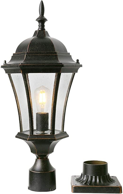 Amazon Com Goalplus Outdoor Post Light Fixture With Pier Mount For Yard 24 1 2 High Post Lamp Antique Bronze Post Lantern With Clear Seeded Glass Ip44 60w E26 1 Pack Lm4610 M Home Improvement