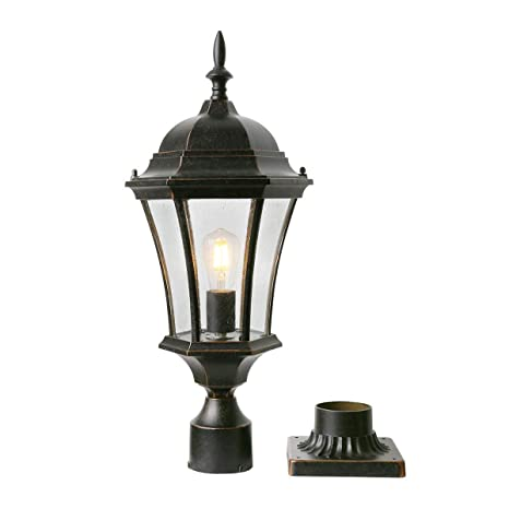 Goalplus Outdoor Post Light Fixture With Pier Mount For Yard 24 1 2 High Post Lamp Antique Bronze Post Lantern With Clear Seeded Glass Ip44 60w E26