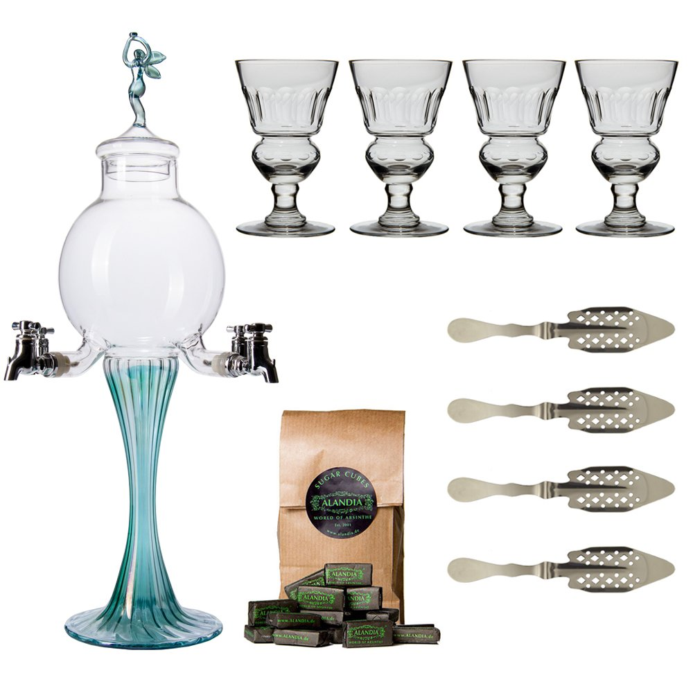Absinthe Accessory Set ''Green Fairy'' with 1x Absinthe Fountain / 4x Absinthe Glasses / 4x Absinthe Spoons / 1x Absinthe Sugar Cubes - Drink Absinthe the traditional way!